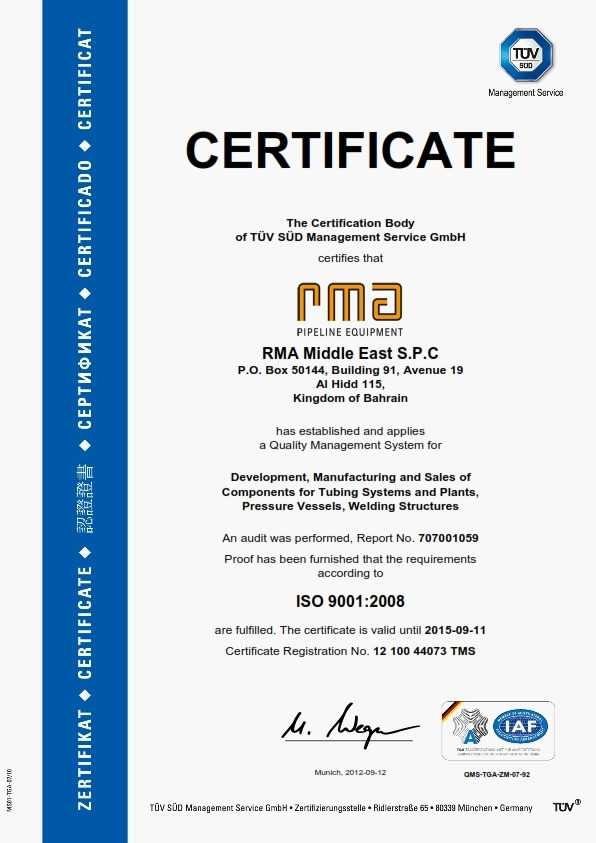 TÜV certificate ISO 9001:2008 for RMA Middle East! – RMA Pipeline ...
